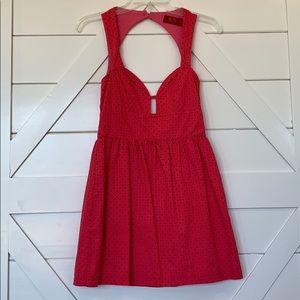 Size 2 hot pink and black polka dot dress